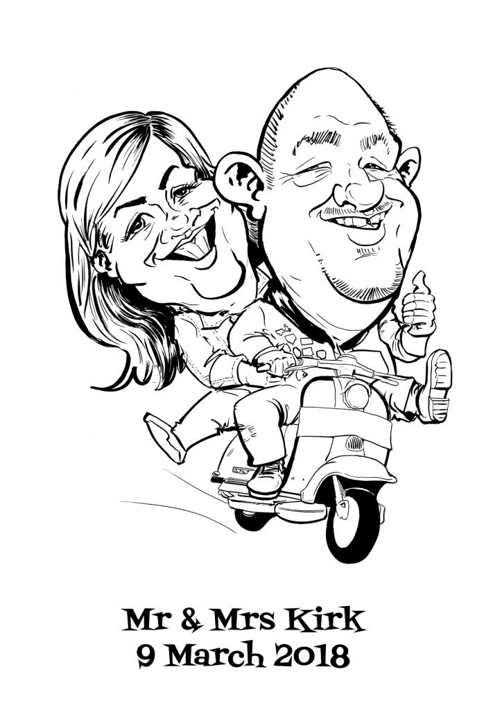 Mr and Mrs Kirk Wedding 09/03/2018 caricature wedding gift