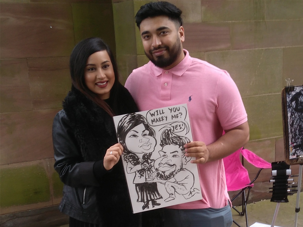 Caricature Marriage Proposal